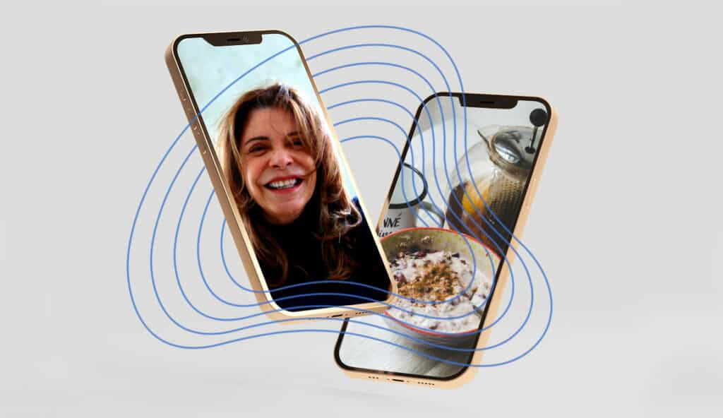 Grey background with two phones hovering - one showing a woman smiling, another showing a shot of a breakfast bowl and coffee pot