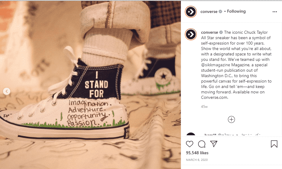 Converse Instagram post of shoe representing self-expression.