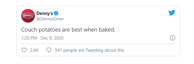 """Denny's Tweet - """"Couch potatoes are best when baked"""" from 09/12/2020."""
