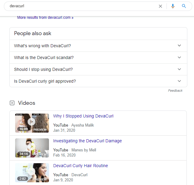 DevaCurl Google search shows negative response from customers.