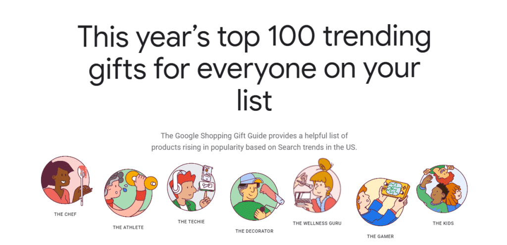 google release shopping gift guide to help customers buy presents based on the person's persona and search trends