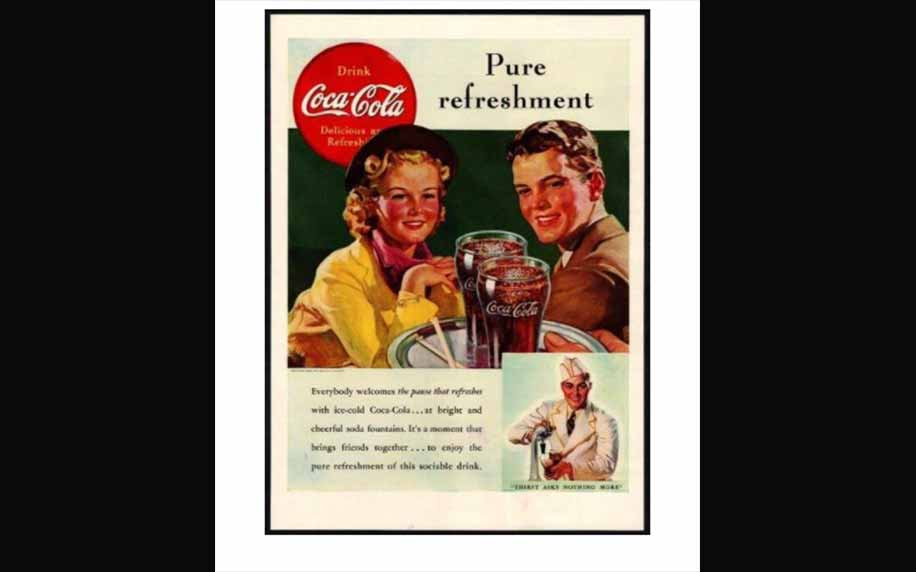 a coca cola advert from the 1950s featuring a man and woman being served coke on a tray.