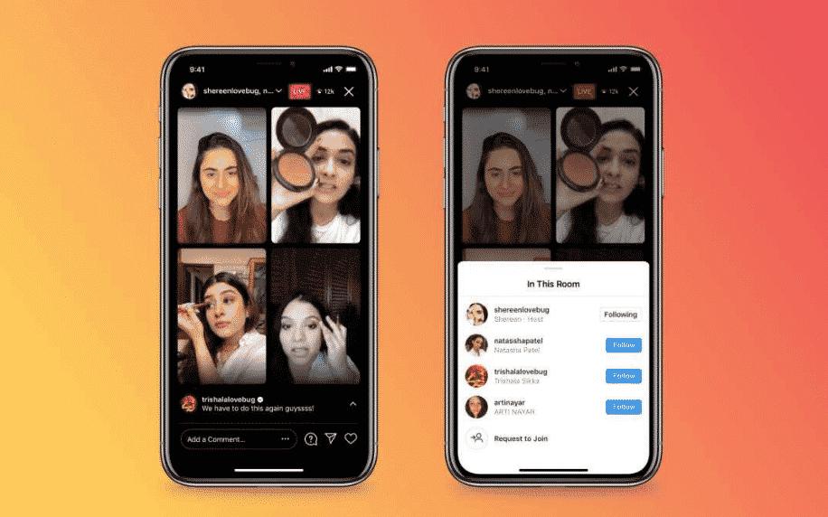Two phones showing makeup tutorial on Instagram Live Rooms orange background