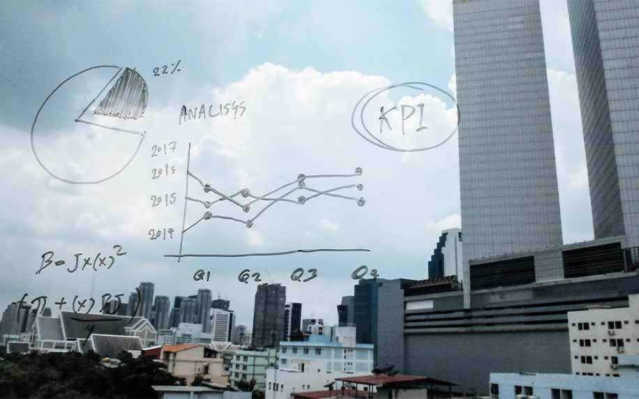 metrics on a window showing charts and kpi tracking