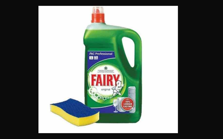 image of the iconic fairy bottle and scrubber - a well known, household brand