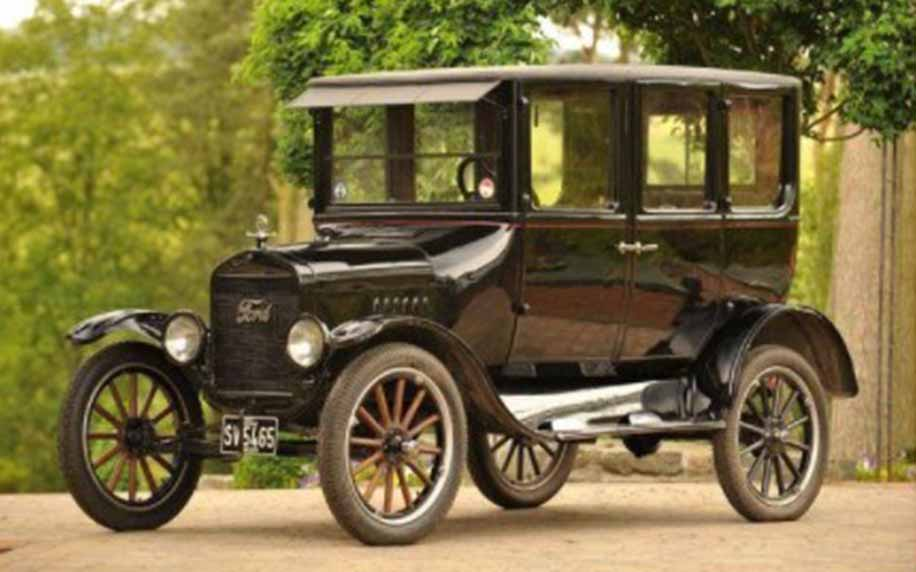 An old model ford T in the forest, a popular car brand