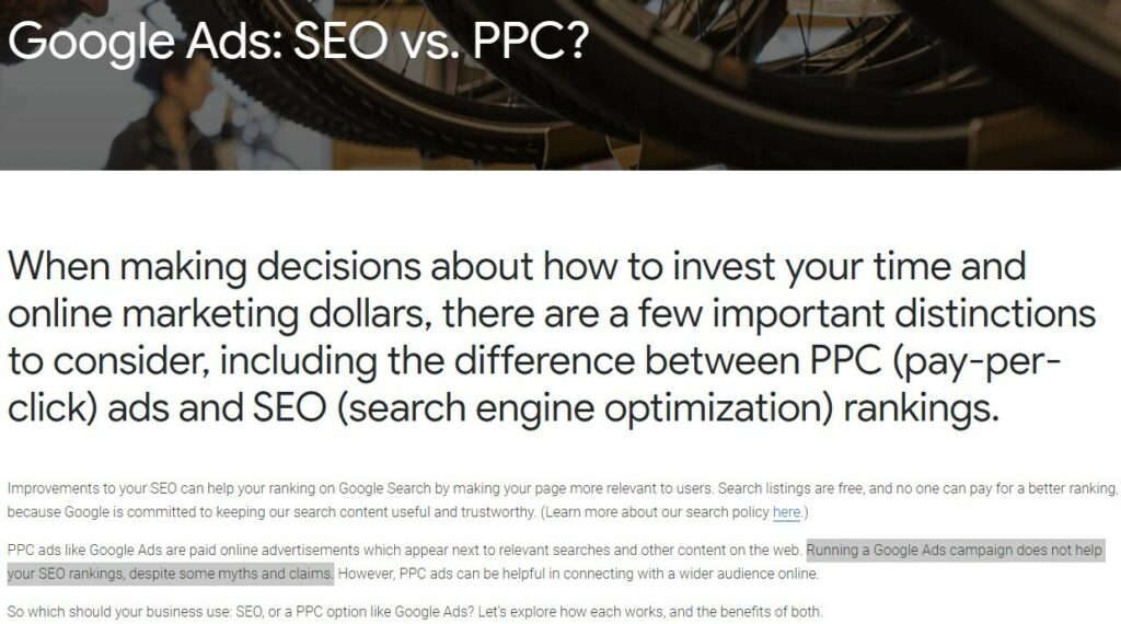 a screenshot from google detailing how campaigns can't help with organic growth