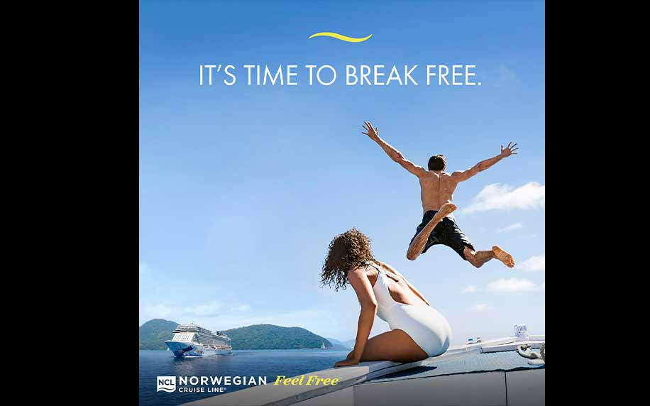 an advert for norwegian cruise line depicting a man jumping into a boat with the woman sitting on the side watching him
