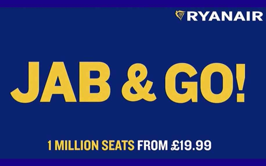 advert for ryan air promoting their jab and go flight offers