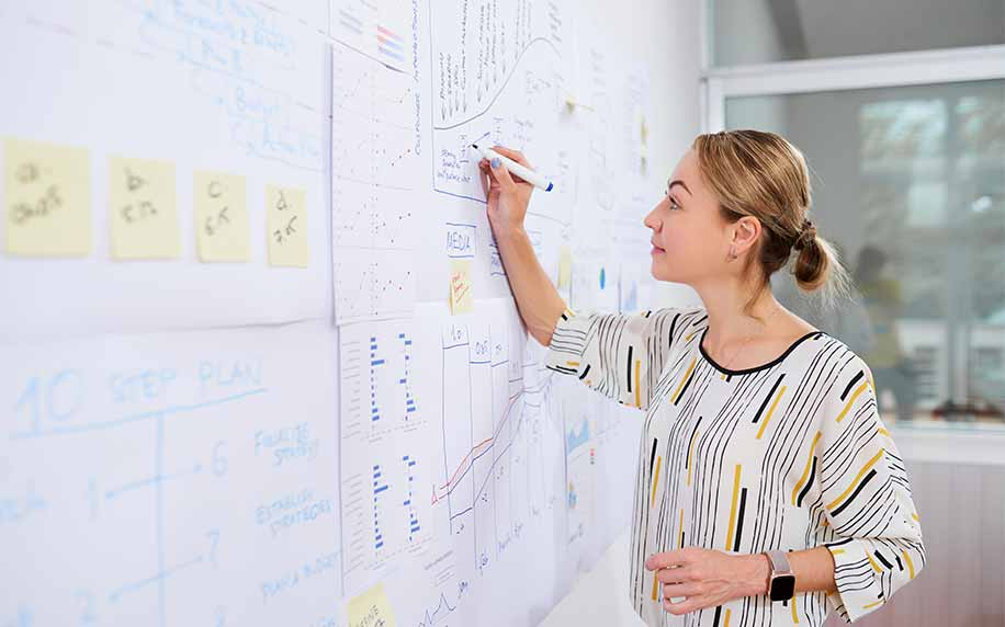 marketing department manager drawing on a chart planning strategy