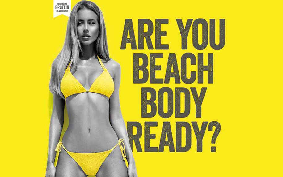 the beach body ready ad featuring a young woman in a bikini