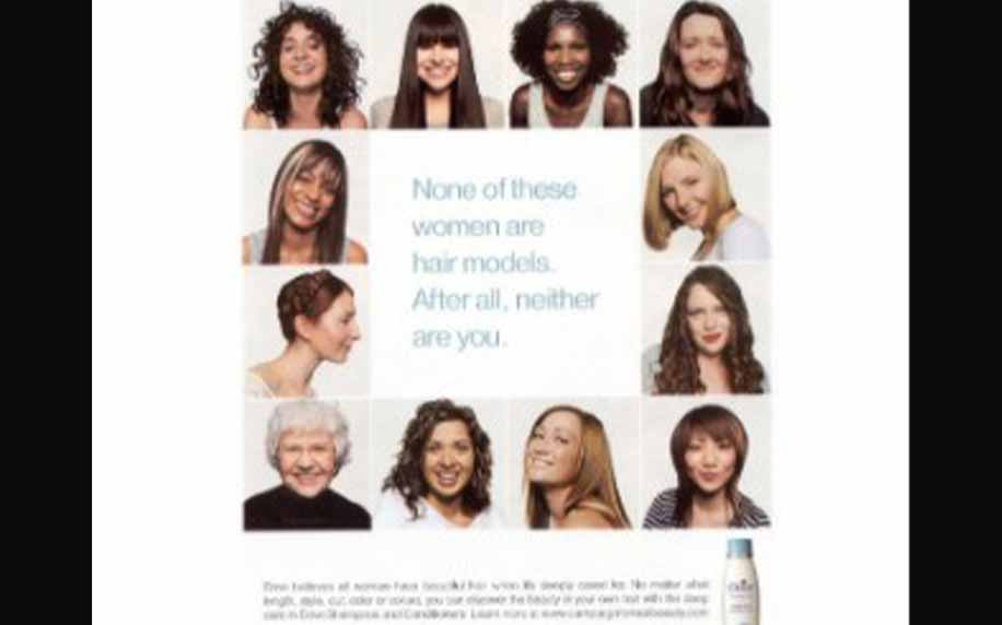 advert for dove shampoo with ladies' heads all around a quote in a square
