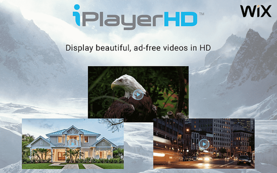 grey background with The iPlayerHD Video Hosting app logo and screenshots of app