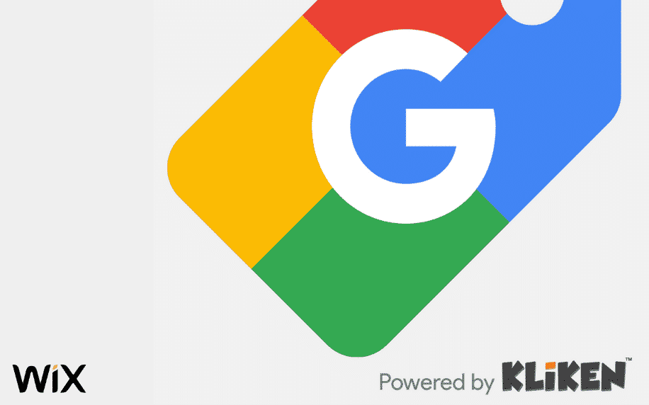 grey background with Google, Kliken and Wix logo