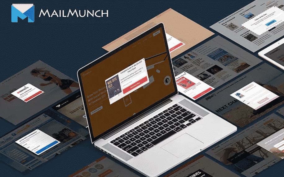 black background with laptop with mailmunch logo