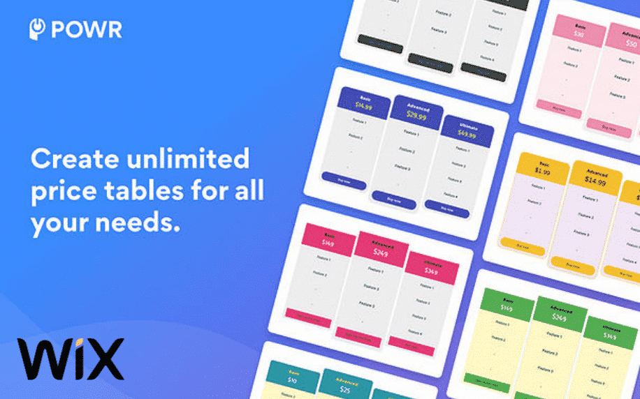 blue background with example of price table app by POWR
