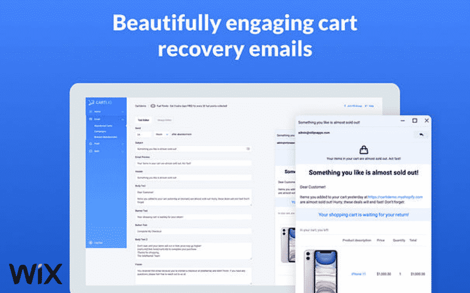 blue background with example of Carti Abandoned Cart Recovery app