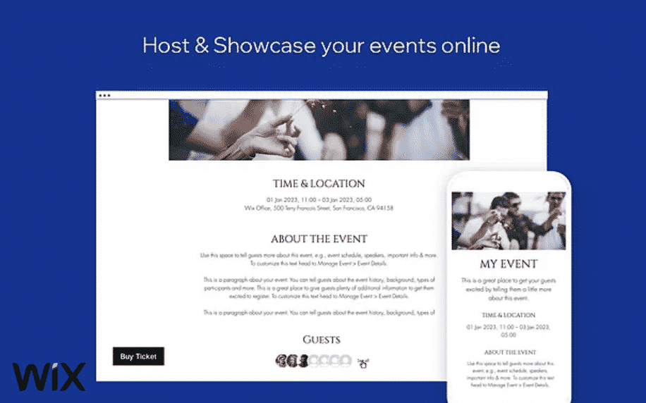 navy background with laptop screen showing wix events