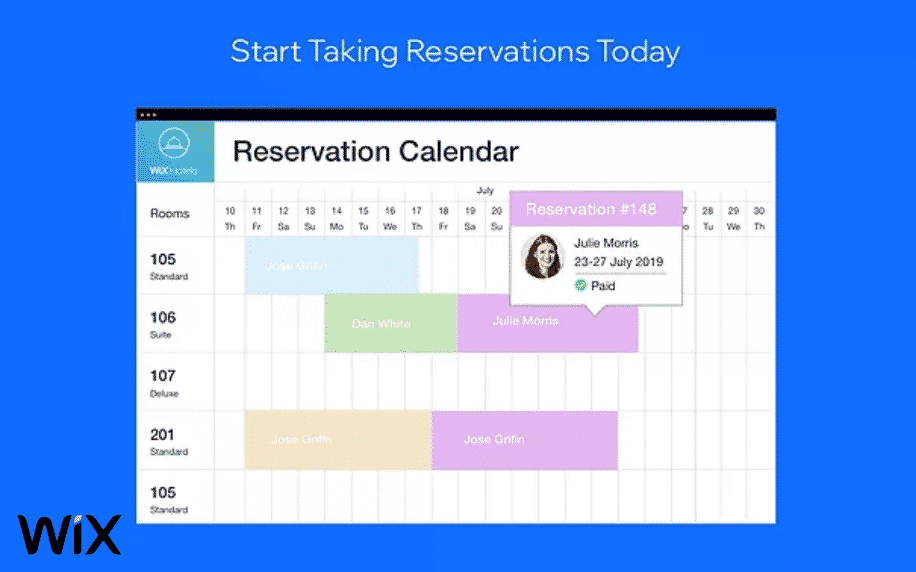 blue background with screenshot of reservation calendar for wix hotels