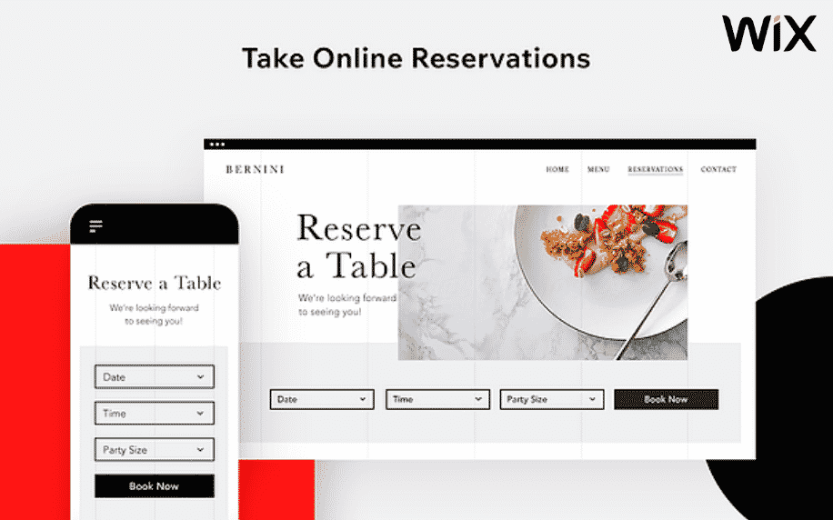 grey background showing webpage of wix reservations