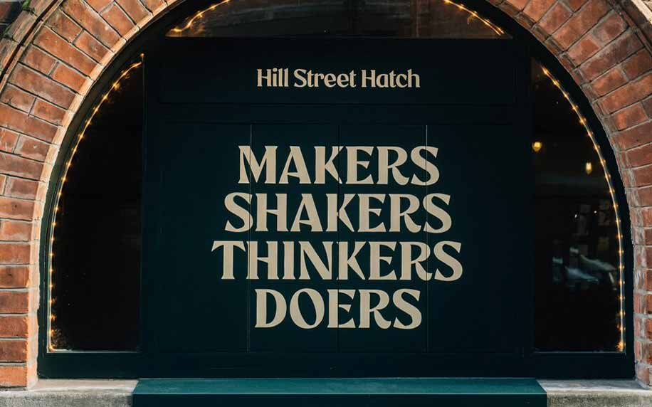the hill street hatch with their logo makers, shakers, thinkers, doers