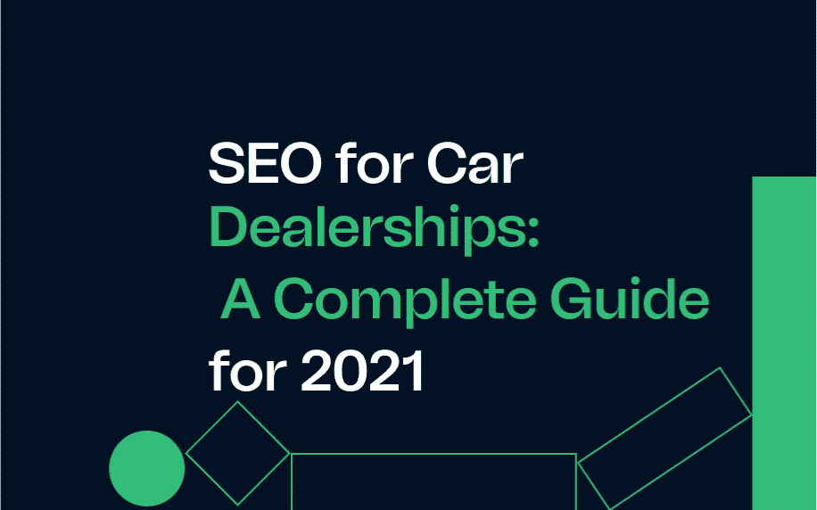 SEO for car dealerships feature image, navy background, white text, green accents