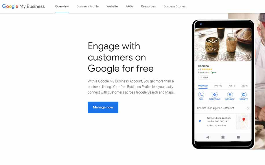 the homepage for Google My Business