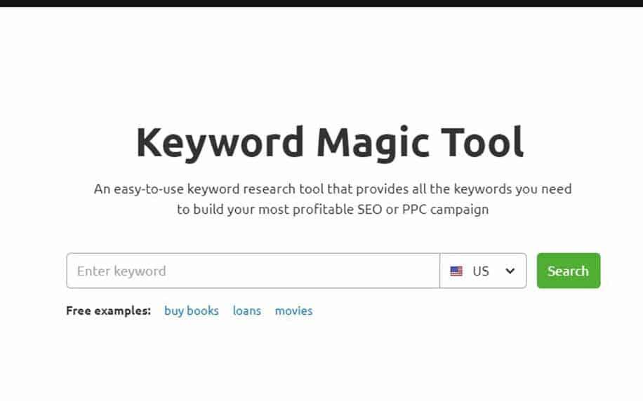 a shot of SEMrush's keyword magic tool