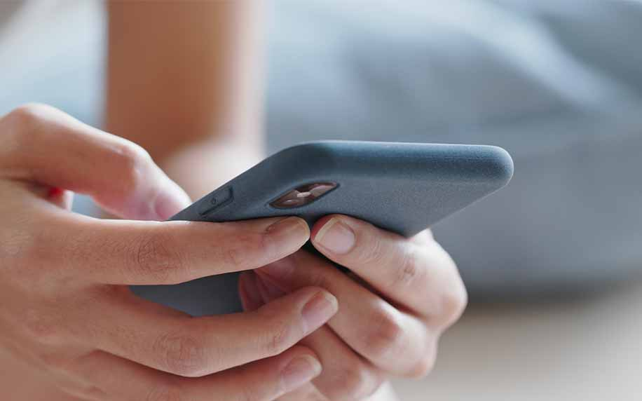 a person looking at a website on their mobile device
