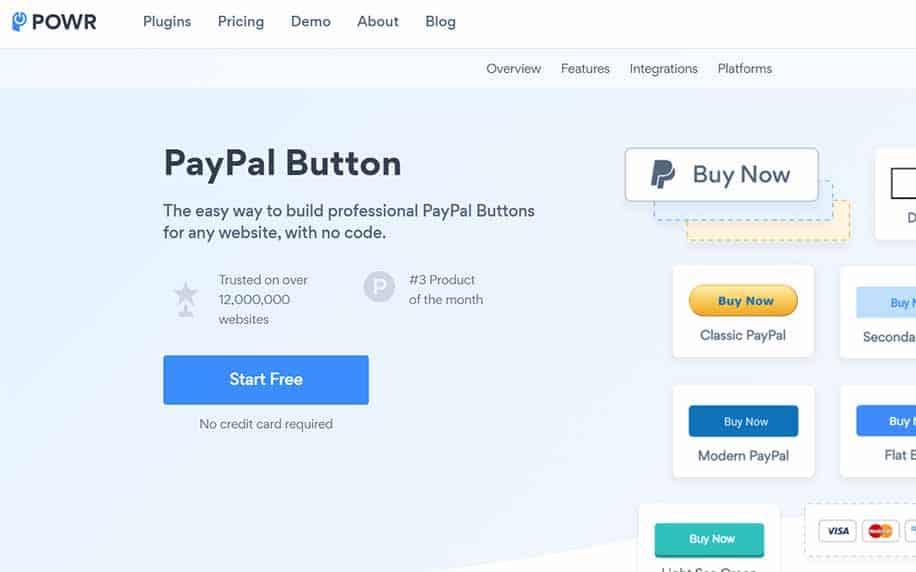 screenshot of the paypal button app homescreen