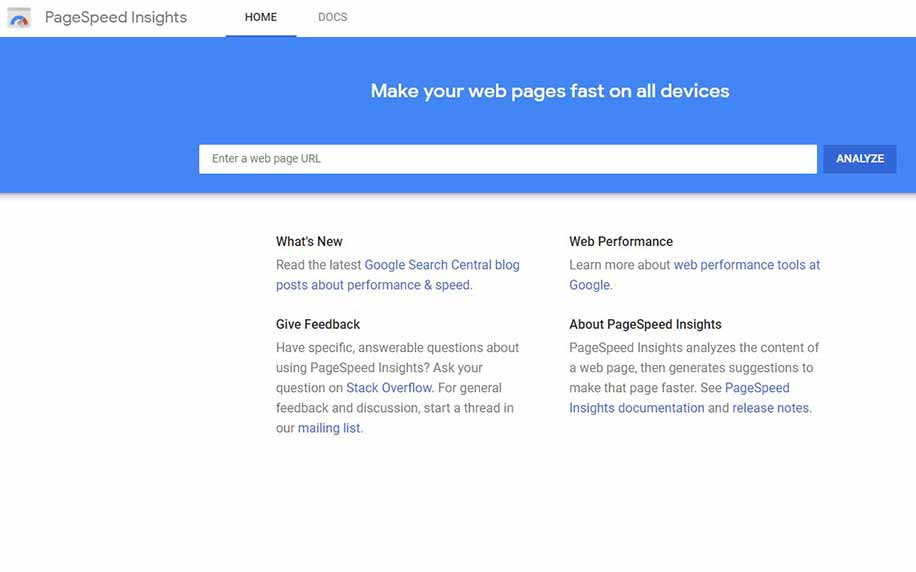 the homepage for Google's tool pagespeed insights