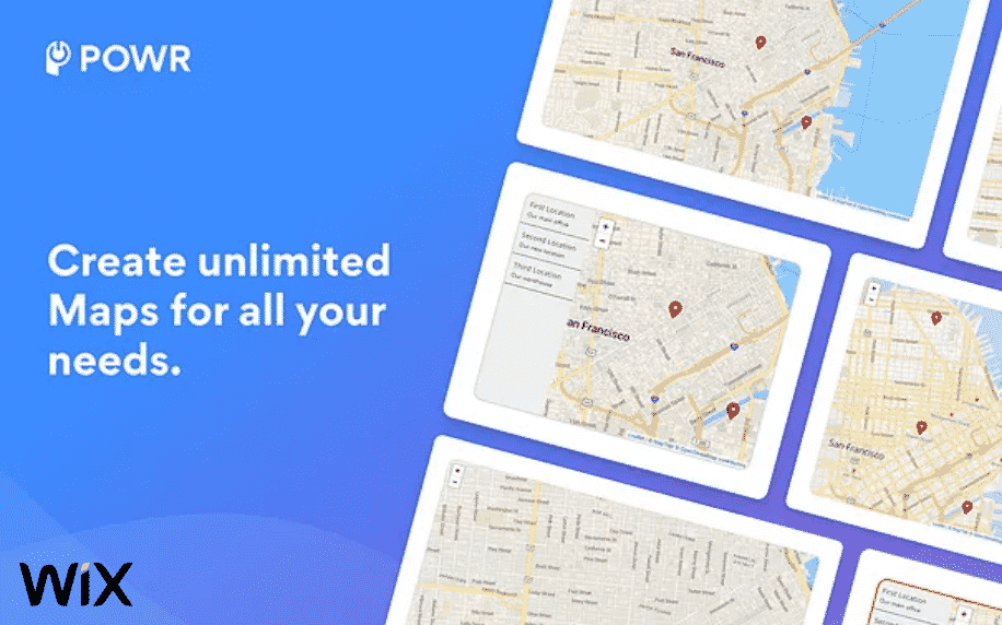 blue background with white text for map and store locator app with maps in boxes