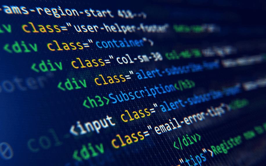 computer screen with HTML code