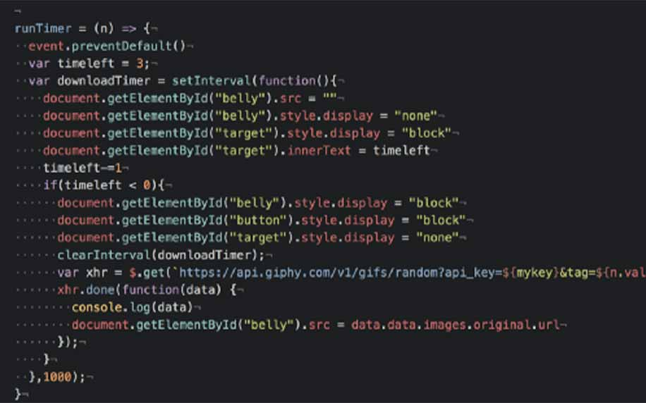 lines of code to using the giphy api to make code.