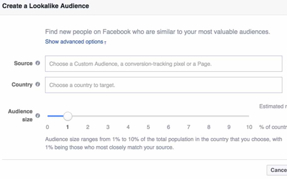 a screenshot of setting up a lookalike audience on facebook