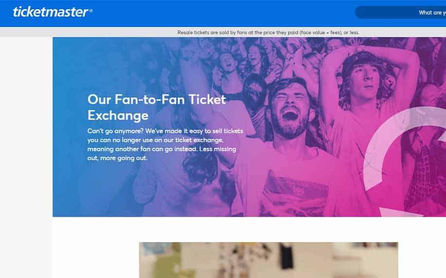 screenshot of the ticketmaster homepage