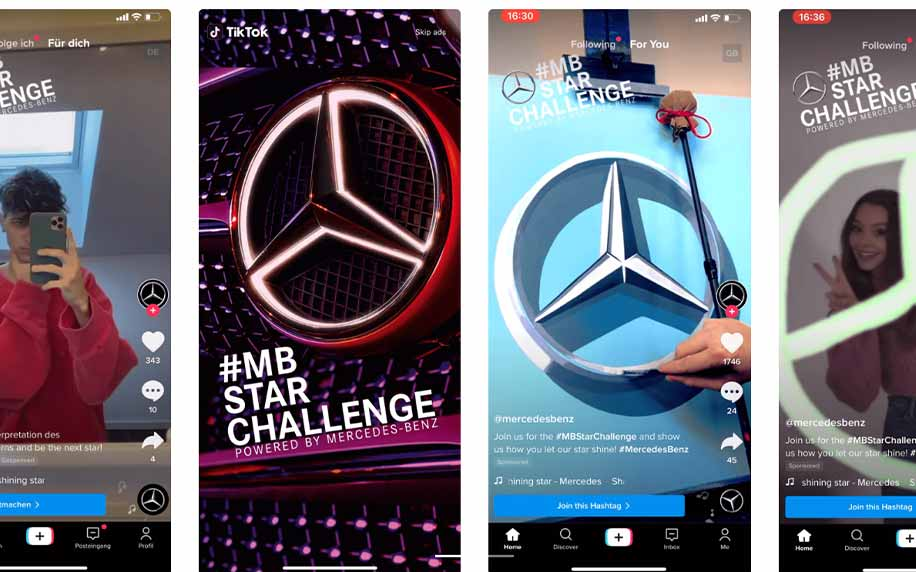 a selection of tiktok shots from the mercedes brand takeover