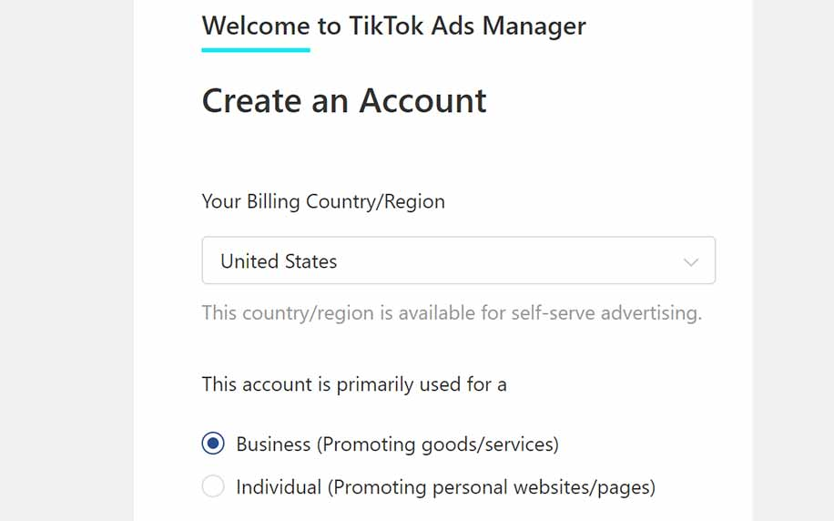 homepage for creating a tiktok ad account