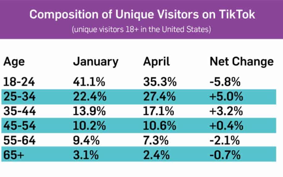 usage data of users and demographics on tiktok