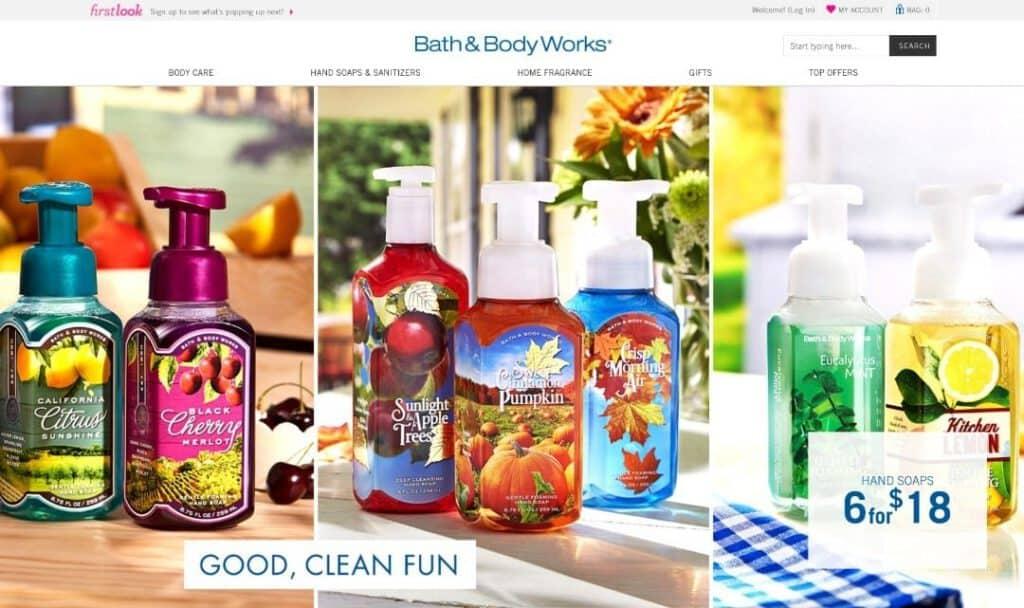 Bath and Body Works Website Snapshot