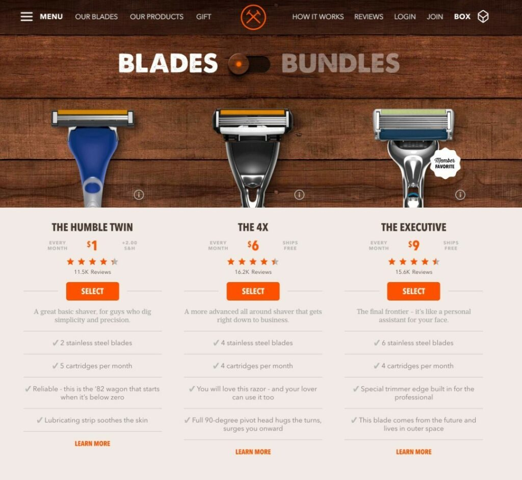 Dollar Shave Club Website Snapshot