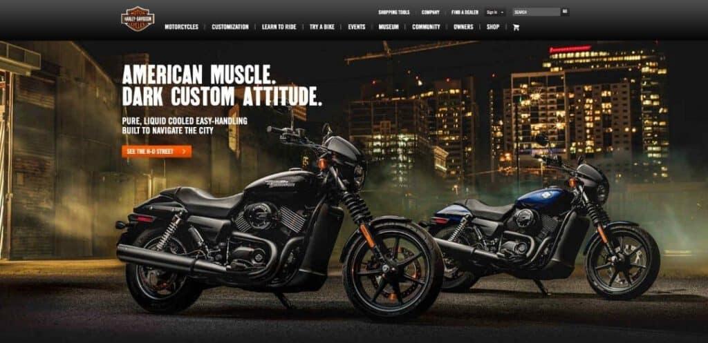 Harley Davidson Website Snapshot