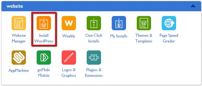 screenshot for installing wordpress