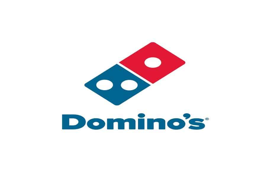 A photo of the Domino's Pizza logo, a blue and red domino with Domino's written under it