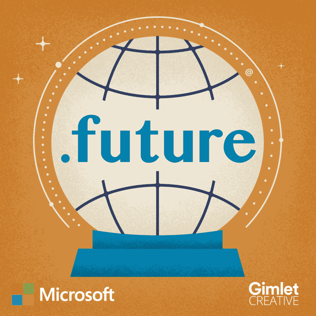 The logo for Microsoft's .future podcast. The image features a blue globe with a mustard yellow background.