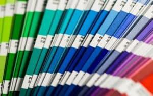 A rainbow array of Pantone colour swatches