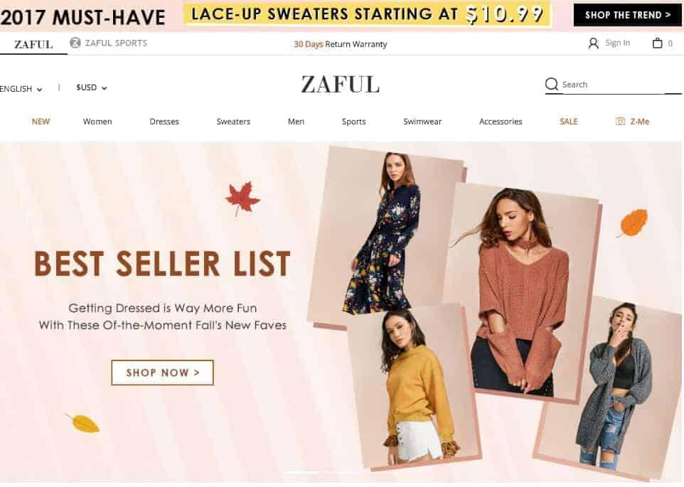 zaful homepage