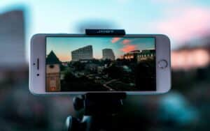 An iPhone on a tripod recording a sunset over Texas, USA.