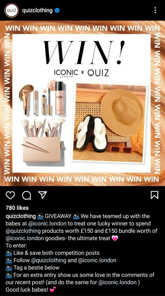 A screenshot from @quizclothing on Instagram promoting their latest giveaway