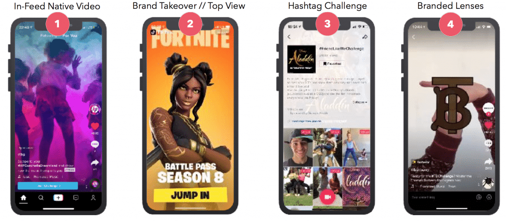 An image of the different TikTok for business ad types